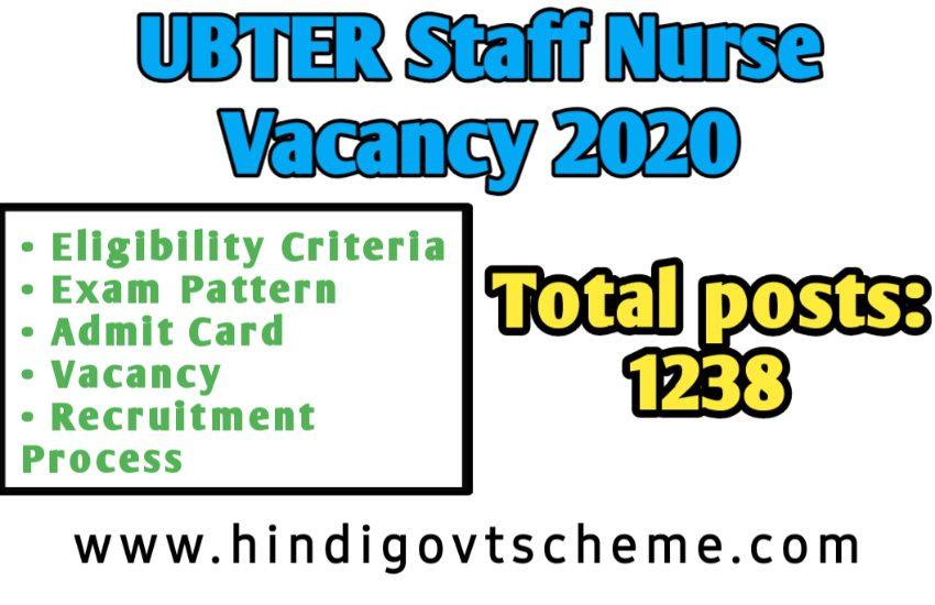 UBTER Staff Nurse Vacancy 2020